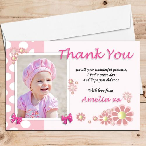 10 Personalised Girls Flower Birthday Thank you PHOTO Cards N107